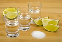 Tequila, lime and salt Stock Photos
