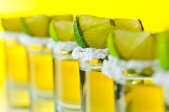 Tequila , lime and salt Stock Images