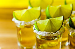 Tequila , lime and salt Stock Photography