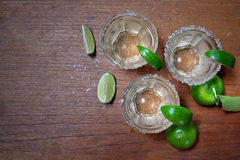 Tequila with lime and salt Stock Photography