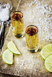 Tequila with lime and salt Royalty Free Stock Images