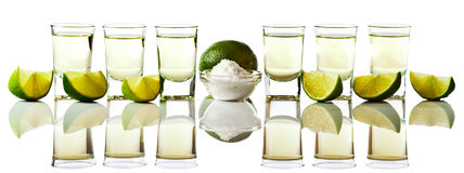 Tequila , lime and salt Royalty Free Stock Photos