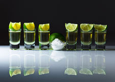 Tequila , lime and salt Royalty Free Stock Images
