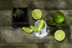 Tequila with lime and salt. On a wooden background royalty free stock photography