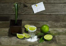 Tequila with lime and salt. On a wooden background royalty free stock image