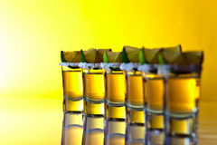 Tequila , lime and salt Stock Photos