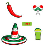 Tequila with lime sombrero, jalapeno and maracas, grouped for easy editing. No open shapes or paths. Tequila with lime sombrero, jalapeno and maracas, grouped vector illustration