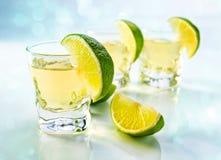 Tequila med limefrukt royaltyfri fotografi