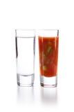 Tequila met Sangrita-Jager Stock Afbeeldingen