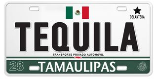 Tequila Mexican License Plate Mexico Proud Soccer Football. Tequila Mexican Mexico License Plate Futball football team soccer baja fiesta automobile car vector illustration