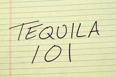 Tequila 101 Na Żółtym Legalnym ochraniaczu Obraz Royalty Free