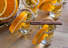 Tequila with orange Royalty Free Stock Photos