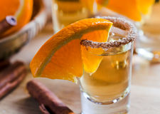 Tequila with orange and cinnamon Royalty Free Stock Photo