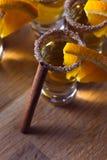 Tequila with orange and cinnamon Stock Photos