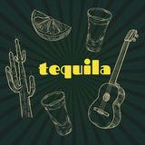 Tequila party items. Tequila party. Vintage engraving illustration for label, poster, invitation to a party. Hand drawn design element on black background Stock Photography
