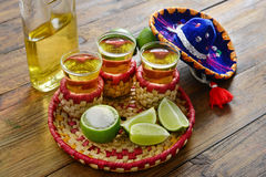 Tequila. `s shoot served on Mexican style Stock Images