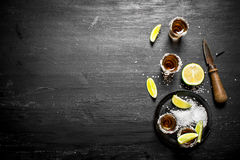 Tequila with salt and lime. Royalty Free Stock Photography