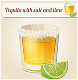 Tequila with salt and lime. Detailed Vector Icon Stock Photo