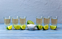 Tequila with salt and lime Stock Photography