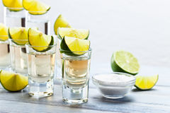 Tequila with salt and lime Stock Images
