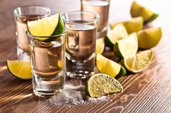 Tequila with salt and lime Royalty Free Stock Photography