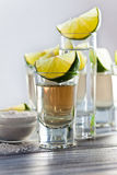 Tequila with salt and lime Stock Photos