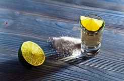 Tequila with salt and lime Royalty Free Stock Image