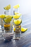 Tequila with salt and lime Stock Photo