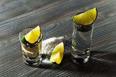 Tequila with salt and lime Royalty Free Stock Photos