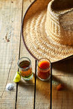Tequila, sangrita και λεμόνι Στοκ φωτογραφία με δικαίωμα ελεύθερης χρήσης
