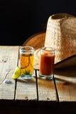 Tequila, sangrita en citroen Royalty-vrije Stock Fotografie