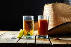 Tequila, sangrita and lemon Royalty Free Stock Photos