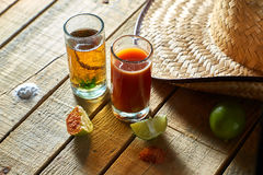 Tequila, sangrita and lemon Stock Images