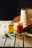 Tequila, sangrita y limón Imágenes de archivo libres de regalías
