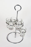 Tequila Shooters glasses. Empty tequila glasses placed in holder Royalty Free Stock Photo