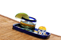Tequila Shot. Tequila in decorative glass with lime and salt Royalty Free Stock Photography