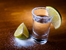 Tequila shot. Salt and lime Royalty Free Stock Photos