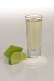 Tequila shot. A shot of aged tequila with lime and sea salt Royalty Free Stock Photo