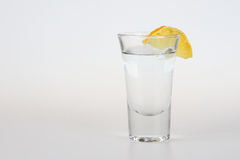 Tequila shot. Silver tequila shot with lemon Royalty Free Stock Photography