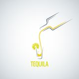 Tequila shot bottle glass menu background Royalty Free Stock Images