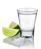 Tequila shot. With fresh lime and salt isolated on white background Royalty Free Stock Image