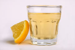Tequila shot with lemon Royalty Free Stock Photography