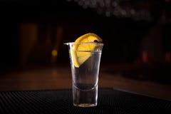 Tequila shot with lemon Stock Photo