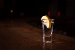 Tequila shot with lemon Stock Photos