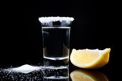 Tequila shot, with lemon and salt Royalty Free Stock Photo