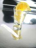 Tequila shot with lemon and salt Stock Photos