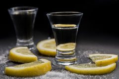 Tequila shot with lemons royalty free stock photography