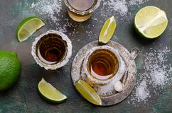 Tequila shot with lime stock photos
