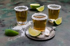 Tequila shot with lime royalty free stock photo