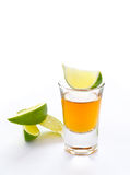 Tequila shot with lime. And white background Royalty Free Stock Photo